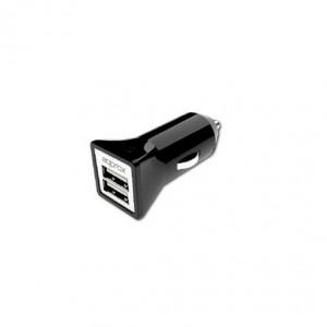 CARGADOR COCHE 2 USB APPROX 3.1A NEGRO